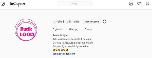 instagram butik profil görünümü