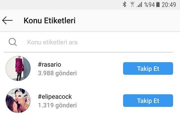 instagram kulanıcısının takip ettiği hashtag