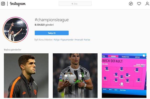örnek isntagram hashtag